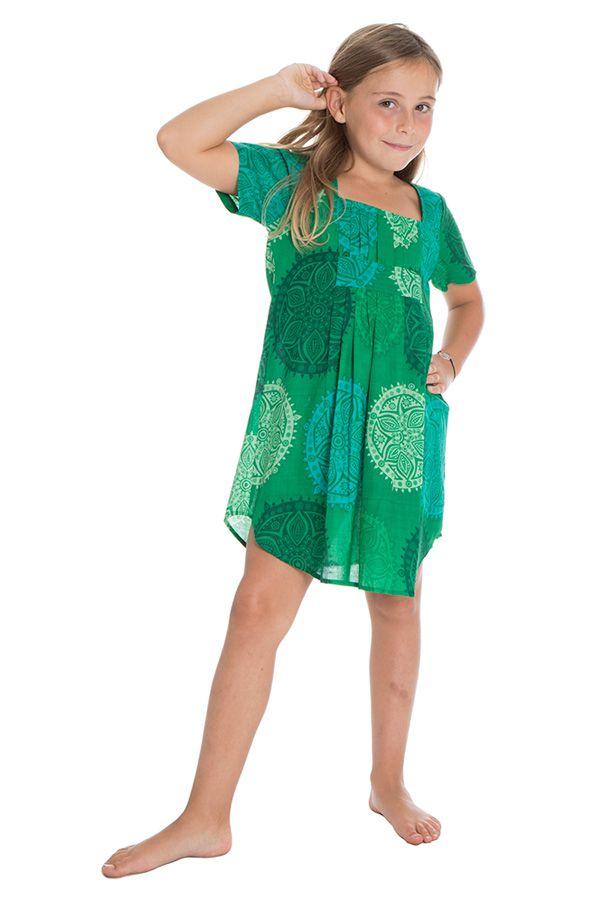 Robe tunique pour enfant avec imprimés fantaisies verte Zana 294814
