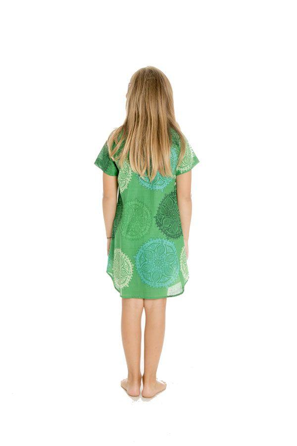 Robe tunique pour enfant avec imprimés fantaisies verte Zana 294815