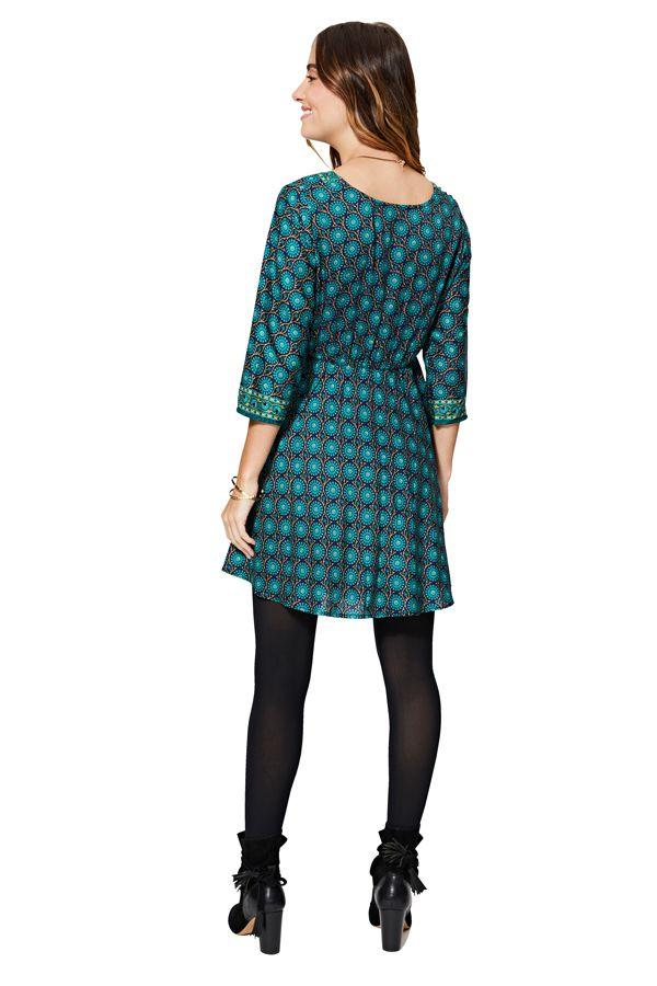 Robe tunique pour femme ethnique mandala bleu Lyvia
