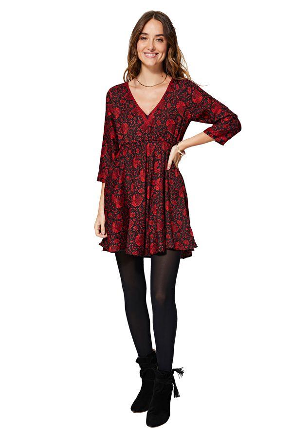 Robe tunique pour femme rouge et noire à fleurs Sunny