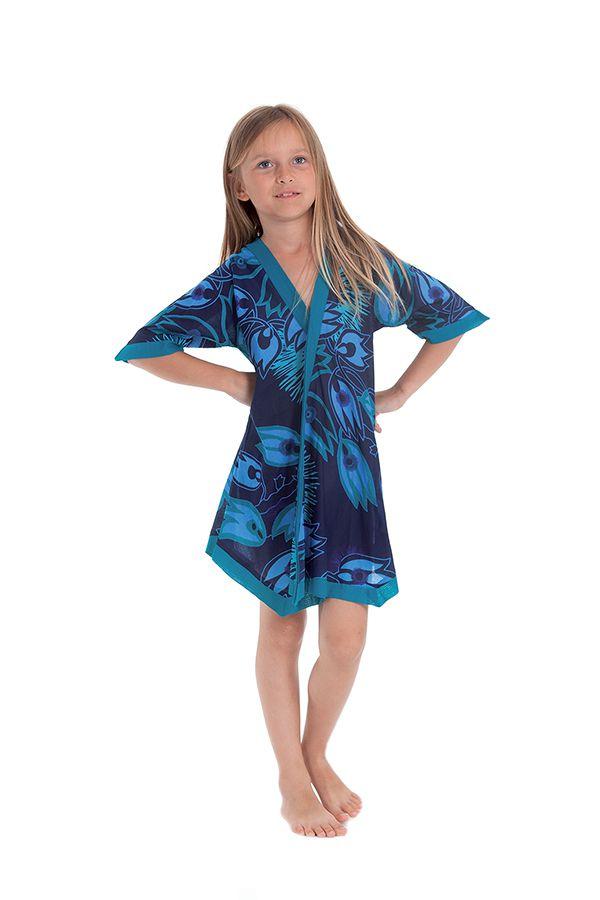 Robe Tunique pour Fille Colorée et Asymétrique Hortensia Bleue 280634