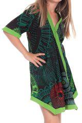 Robe Tunique pour Fille Verte Colorée et Asymétrique Hortensia 280635