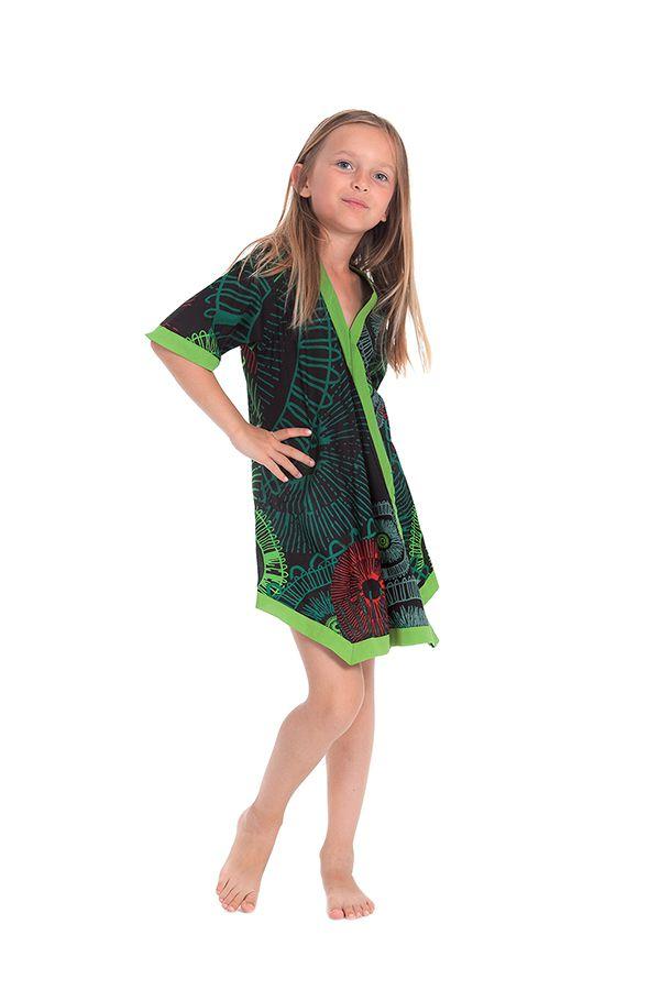 Robe Tunique pour Fille Verte Colorée et Asymétrique Hortensia 280636