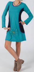 Robe turquoise ethnique et originale pas chère Alice 274283