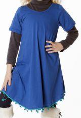 Robe unie bleue évasé avec des ponpoms en bas 287177