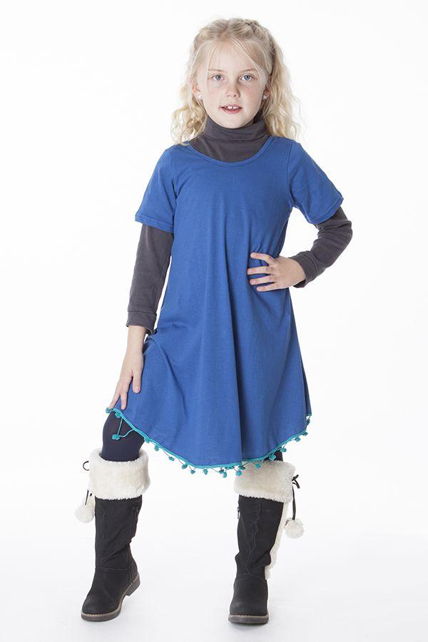 Robe unie bleue évasé avec des ponpoms en bas 287179