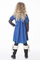 Robe unie bleue évasé avec des ponpoms en bas 287181