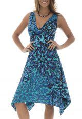 617c79fcf66 ... Robe unique avec col cache et motifs ethniques bleue Tallulah 291541 ...