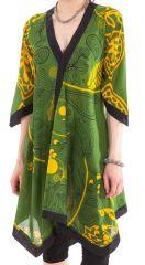 Robe Verte Asymétrique forme Kimono Originale et Ethnique Kashia 281974