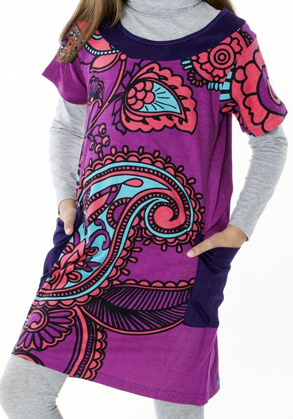 Robe violette à col rond imprimée pour enfant 287263