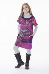 Robe violette à col rond imprimée pour enfant 287264