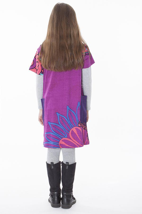 Robe violette à col rond imprimée pour enfant 287265