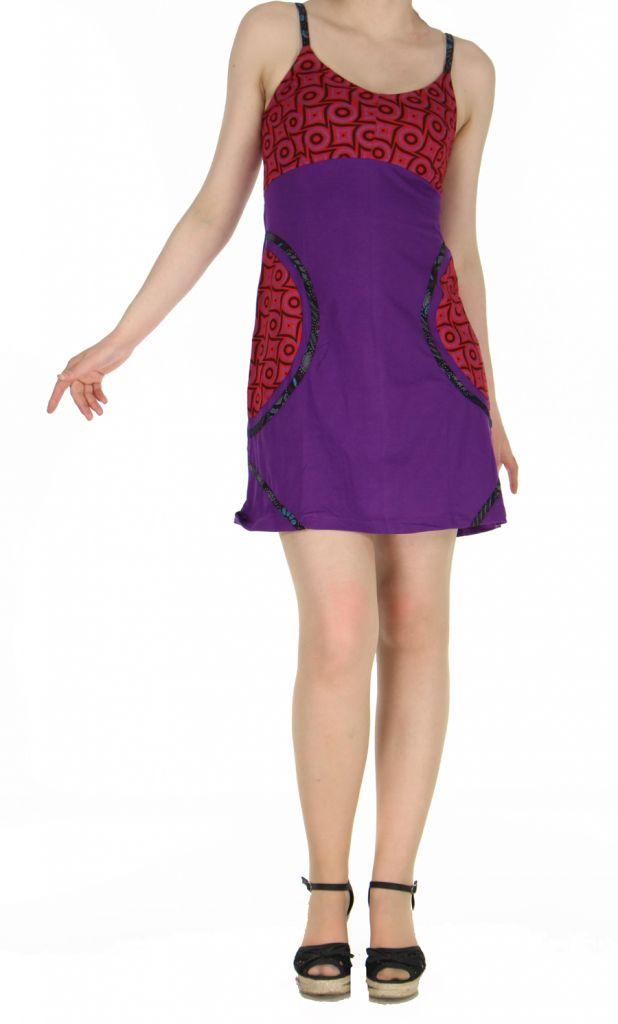 Robe violette courte à dos-nu Clara 268772