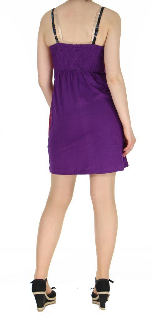 Robe violette courte à dos-nu Clara 268773