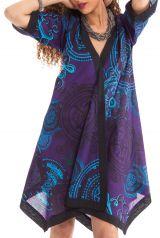 Robe Violette de forme Kimono Asymétrique Originale et Colorée Kashia 281971