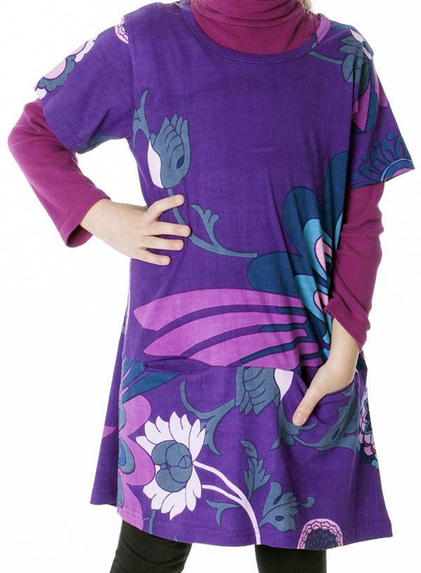 Robe violette imprimée de fleurs pour enfant 287254