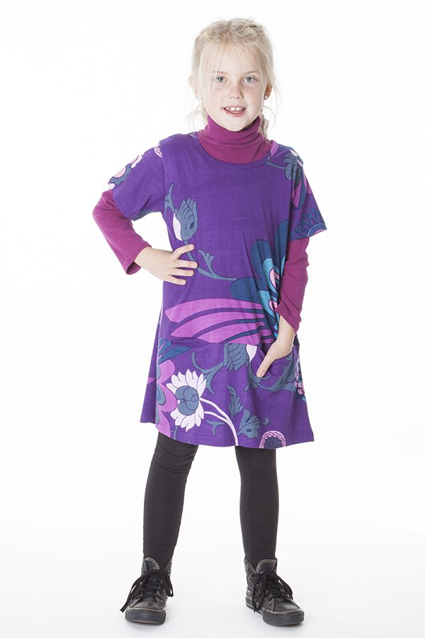 Robe violette imprimée de fleurs pour enfant 287255