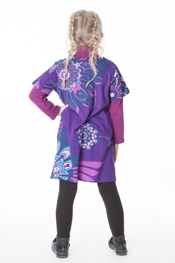 Robe violette imprimée de fleurs pour enfant 287256