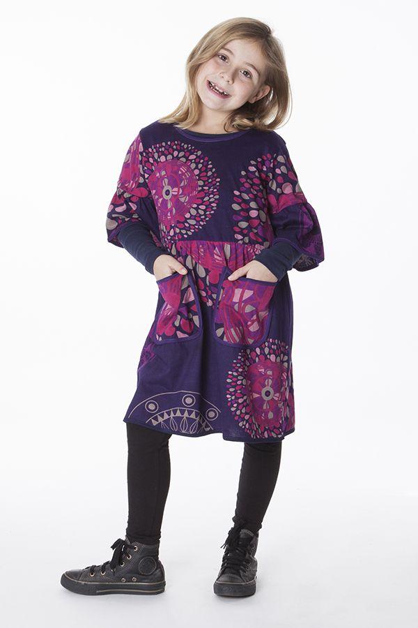 Robe violette manches 3/4 évasées pour fille 287239