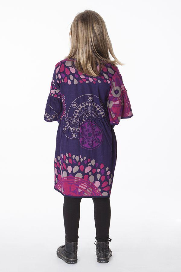 Robe violette manches 3/4 évasées pour fille 287240