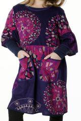 Robe violette manches 3/4 évasées pour fille 287241