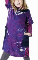 Robe violette pour enfant avec un magnifique imprimé 287269