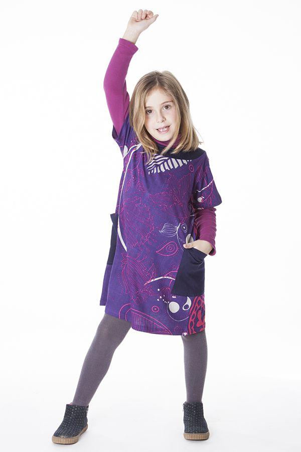 Robe violette pour enfant avec un magnifique imprimé 287270