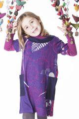 Robe violette pour enfant avec un magnifique imprimé 287271