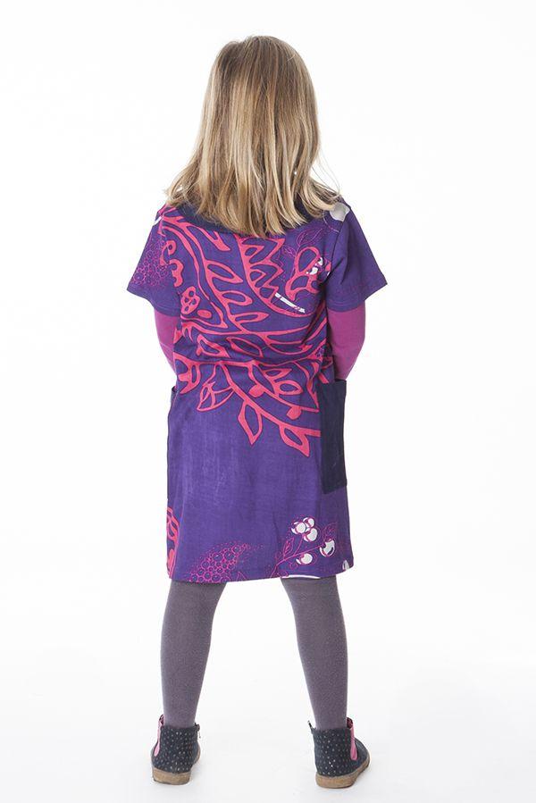 Robe violette pour enfant avec un magnifique imprimé 287272