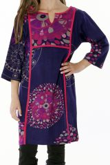 Robe violette pour fille avec un petit col en V 287310