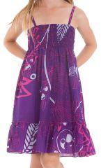 Robe Violette pour fillette à fines bretelles et à volant Ethnique Mufasa 279851