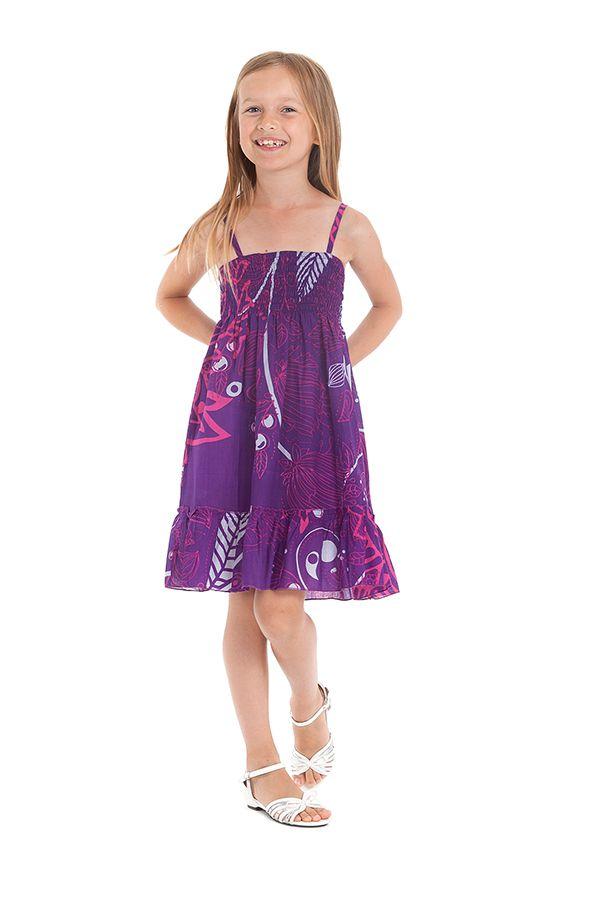 Robe Violette pour fillette à fines bretelles et à volant Ethnique Mufasa 279852
