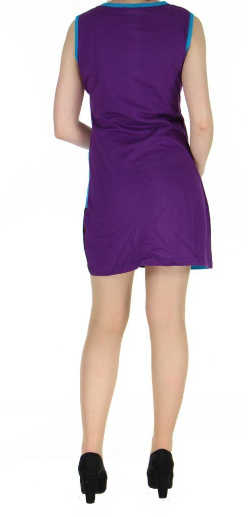 Robe violette sans manches col rond Adri 268819