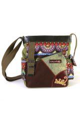 Sac en bandoulière avec logo Gecko cuir et imprimés ethniques kaki Nala 297186