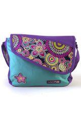 Sac en bandoulière en coton avec empiècement et motif floral en cuir violet Marina 297035