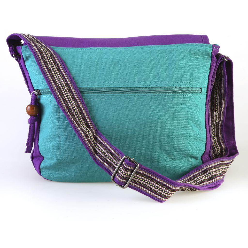 Sac en bandoulière en coton avec empiècement et motif floral en cuir violet Marina 297036