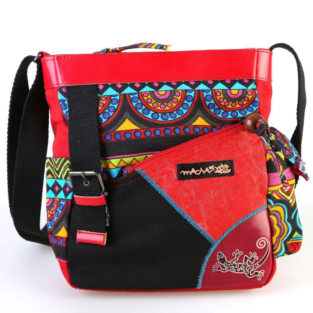 Sac en bandoulière en coton avec logo cuir et imprimés colorés Nala 297113