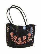 Sac en Cuir noir à fleurs Pounay 302307
