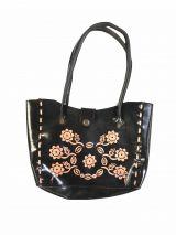 Sac en Cuir noir Ginko à fleurs