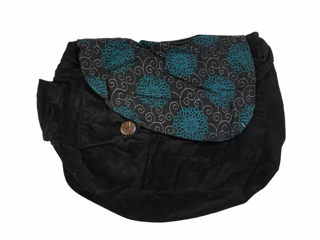 Sac en velour noir et bleu à motifs Juny 302317