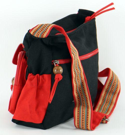 Sac femme Macha original noir et rouge à bandoulière Spirale
