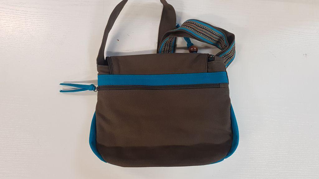 Sac Macha à bandoulière en Coton et Cuir Coloré Passa turquoise/gris 305352