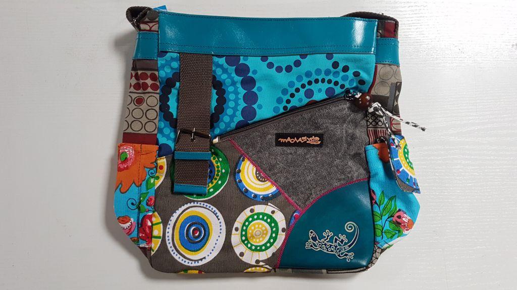 Sac Macha coloré tons bleu à bandoulière Gecko 305368