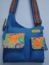 Sac Macha couleur bleue à bandoulière en cuir et coton 304507