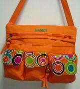 Sac Macha couleur orange à bandoulière en cuir et coton 304618