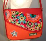 Sac Macha couleur orange et rouge à bandoulière en cuir et coton Tasmani 304622