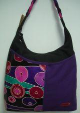 Sac Macha couleur violet et noir à bandoulière en cuir et coton 304616