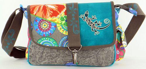 Sac Macha cuir et coton à bandoulière Salamandre n1 271503
