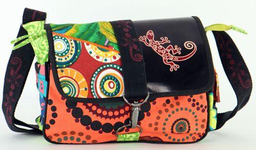 Sac Macha cuir et coton à bandoulière Salamandre n3 271509
