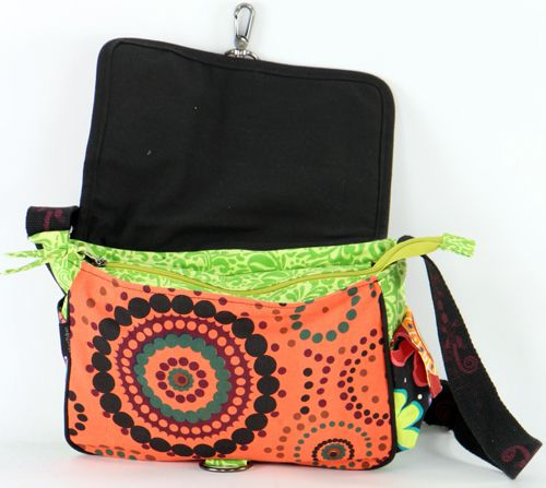 Sac Macha cuir et coton à bandoulière Salamandre n3 271511
